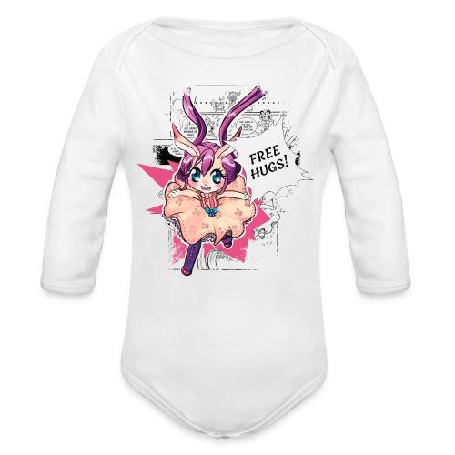 Free hugs (black lines) - Organic Longsleeve Baby Bodysuit
