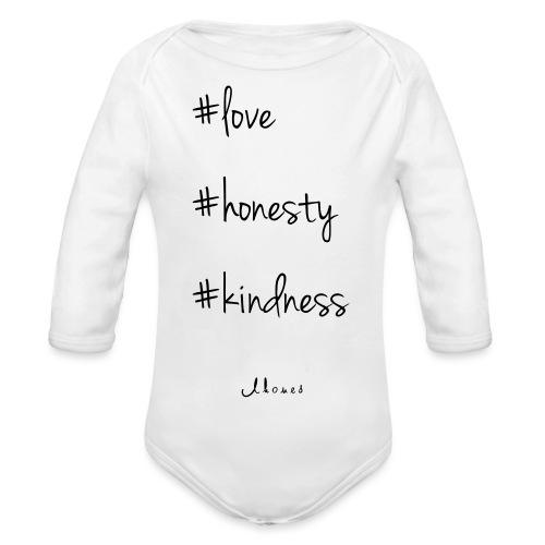 #love #honesty #kindness - Organic Longsleeve Baby Bodysuit