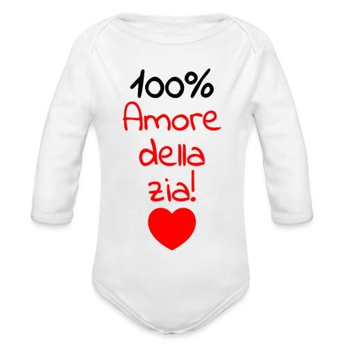 body neonato con frase divertente Zia - Body ecologico per neonato a manica lunga