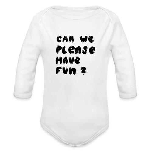 Luloveshandmade - Can we please have fun? (black) - Baby Bio-Langarm-Body