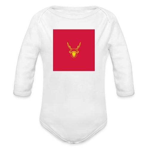 scimmiacervo sfondo rosso - Body ecologico per neonato a manica lunga