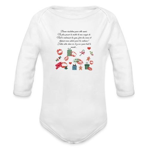 Bonne resolution Noël Nouvel An - Body Bébé bio manches longues