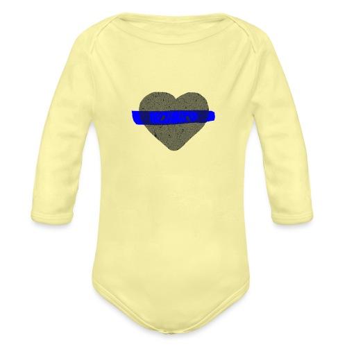 serduszko blu - Ekologiczne body niemowlęce z długim rękawem