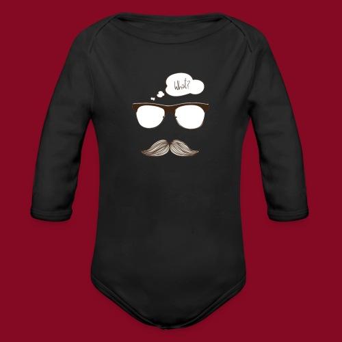 -Whatmoustache - Body ecologico per neonato a manica lunga