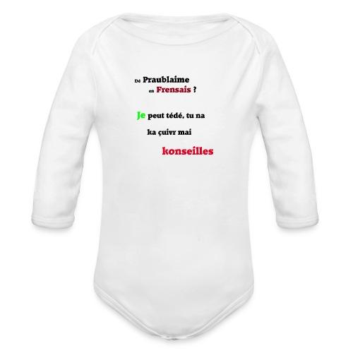 Probleme en français - Body Bébé bio manches longues