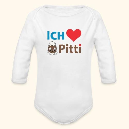 Pittiplatsch Ich liebe Pitti auf hell (blau/braun - Baby Bio-Langarm-Body
