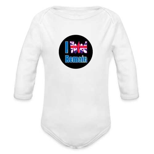 I Voted Remain badge EU Brexit referendum - Organic Longsleeve Baby Bodysuit