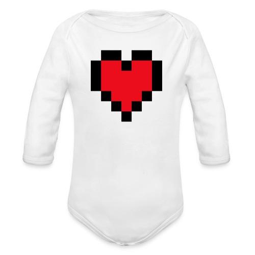 Pixel Heart - Baby bio-rompertje met lange mouwen