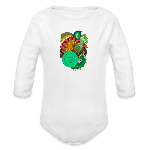 Coloured Leaf Mandala - Organic Longsleeve Baby Bodysuit