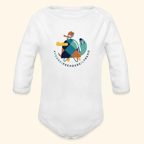 Tartaruga e uccellino - Body ecologico per neonato a manica lunga