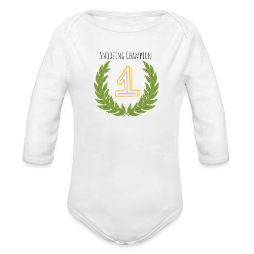 Snoozing Champion - Organic Longsleeve Baby Bodysuit