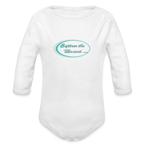 Logo capture the moment photography slogan - Organic Longsleeve Baby Bodysuit