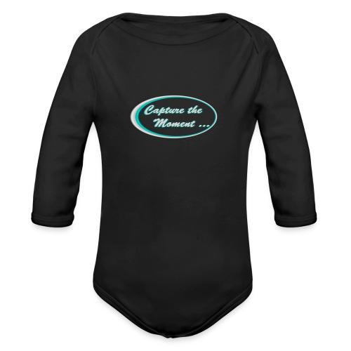 Logo capture the moment photography slogan - Organic Longsleeve Baby Bodysuit