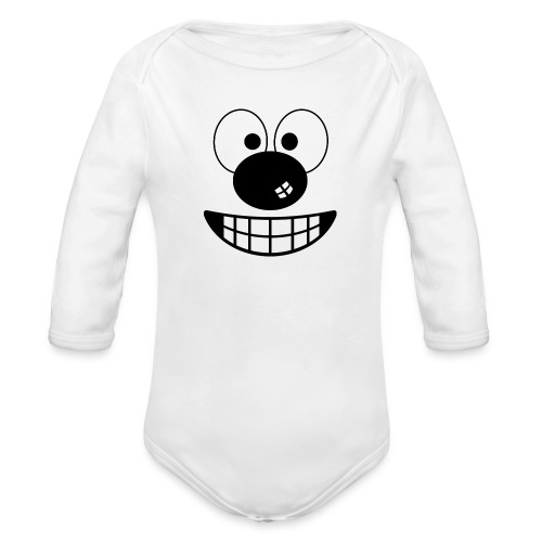 Funny cartoon face - Organic Longsleeve Baby Bodysuit