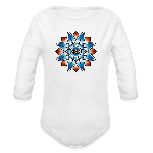 Psychedelisches Mandala mit Auge - Baby Bio-Langarm-Body