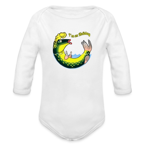 10-39 LADY FISH HOLIDAY - Haukileidi lomailee - Vauvan pitkähihainen luomu-body