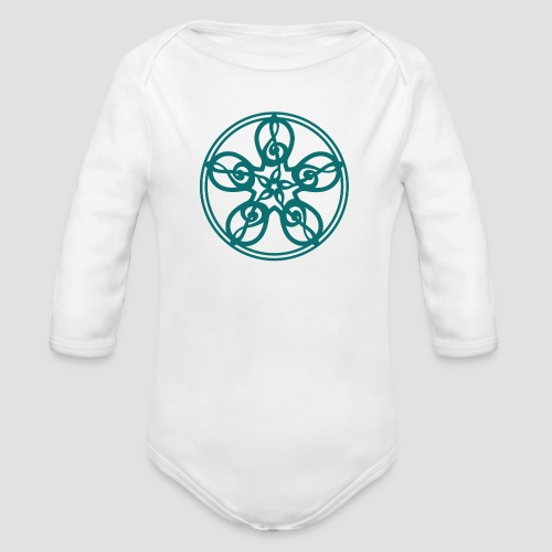 Treble Clef Mandala (teal) - Organic Longsleeve Baby Bodysuit