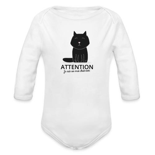 Chat noir - Body bébé bio manches longues