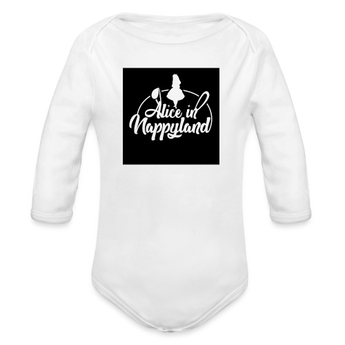 Alice in Nappyland TypographyWhite 1080 - Organic Longsleeve Baby Bodysuit