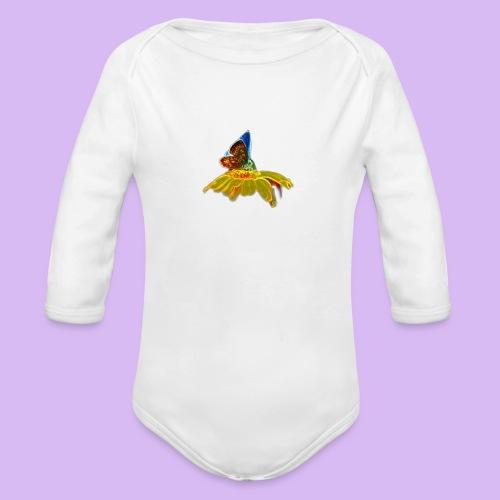 Farfalla su corolla - Body ecologico per neonato a manica lunga