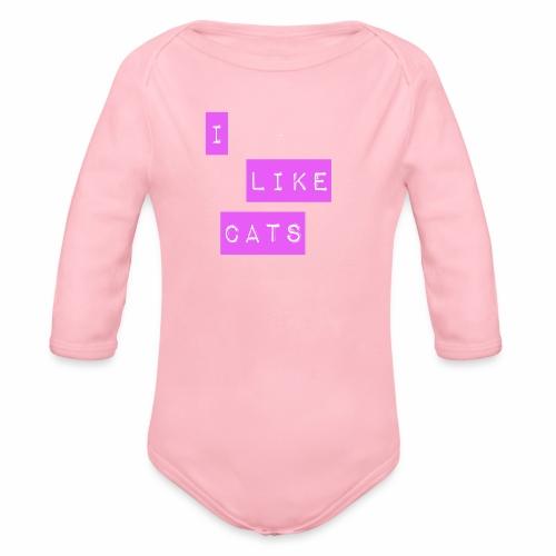I like cats - Organic Longsleeve Baby Bodysuit