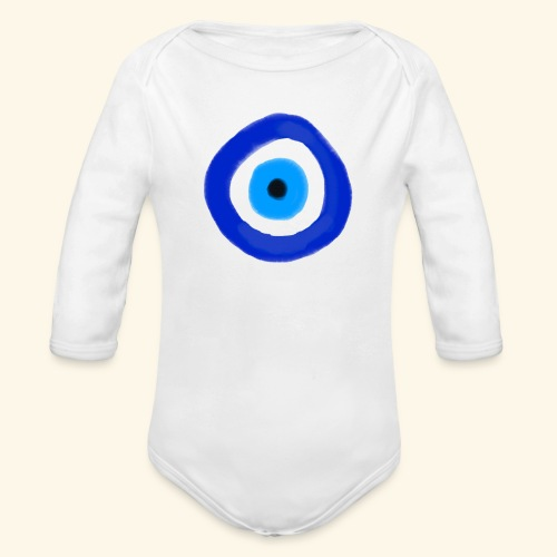 Blue evil eye Water Colour - Ekologisk långärmad babybody