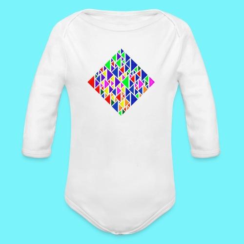 A square school of triangular coloured fish - Organic Longsleeve Baby Bodysuit