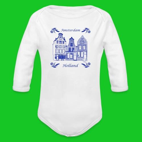 Holland Grachtenpanden Delfts Blauw - Baby bio-rompertje met lange mouwen
