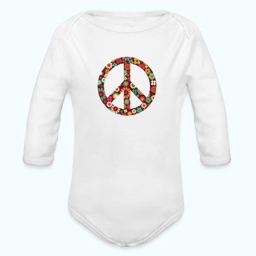 Flowers children - peace - Organic Longsleeve Baby Bodysuit