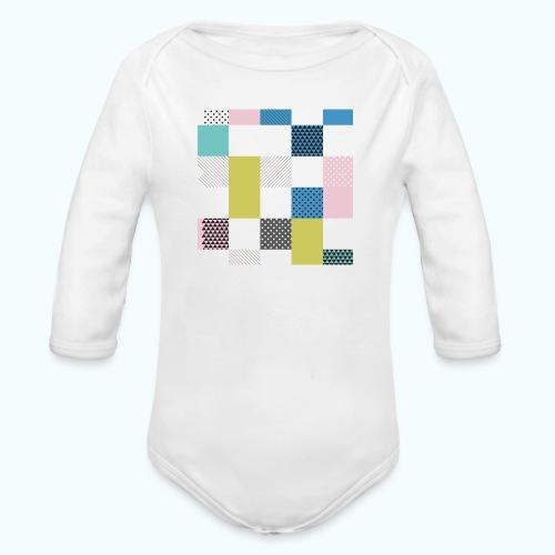 Abstract art squares - Organic Longsleeve Baby Bodysuit