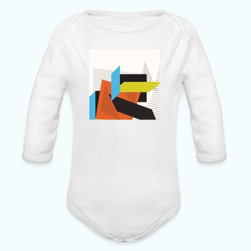 Vintage shapes abstract - Organic Longsleeve Baby Bodysuit