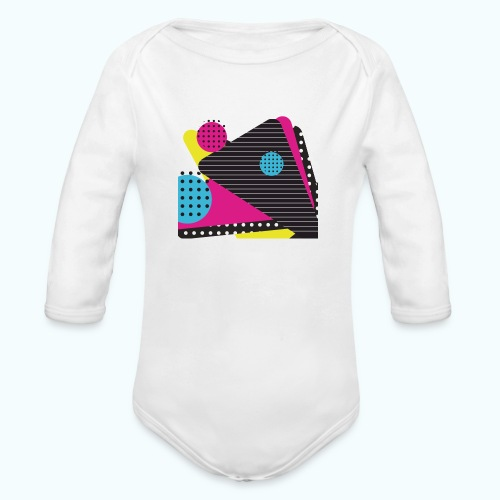Abstract vintage shapes pink - Organic Longsleeve Baby Bodysuit