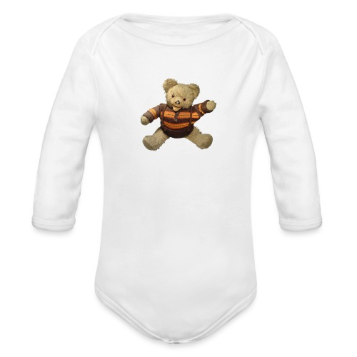 Teddybär - orange braun - Retro Vintage - Bär - Baby Bio-Langarm-Body
