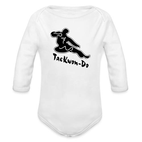 Taekwondo flying kicking man - Organic Longsleeve Baby Bodysuit