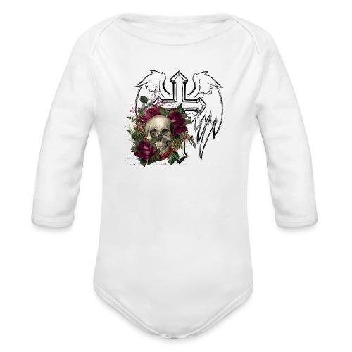 Floral Skull at Angels Cross - Baby Bio-Langarm-Body