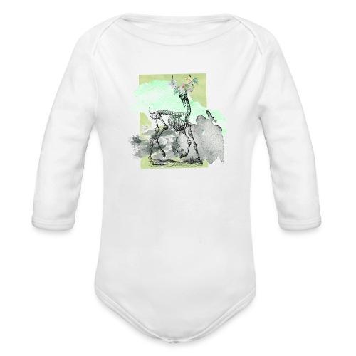 Flowery Deer Skeleton - Baby Bio-Langarm-Body