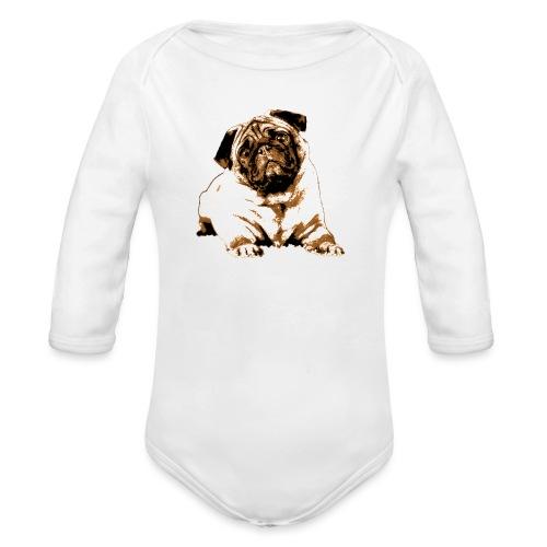 Pug Sepia - Baby Bio-Langarm-Body
