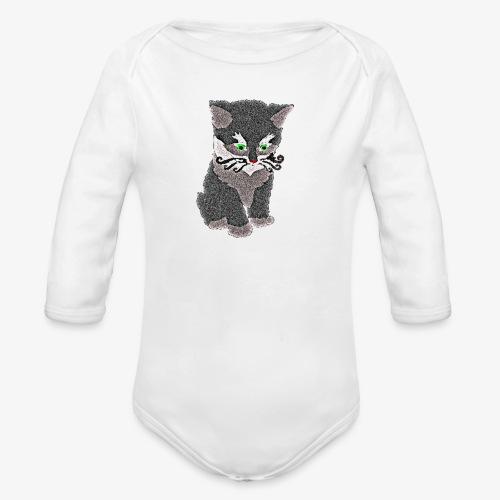 Kotek szary - Ekologiczne body niemowlęce z długim rękawem