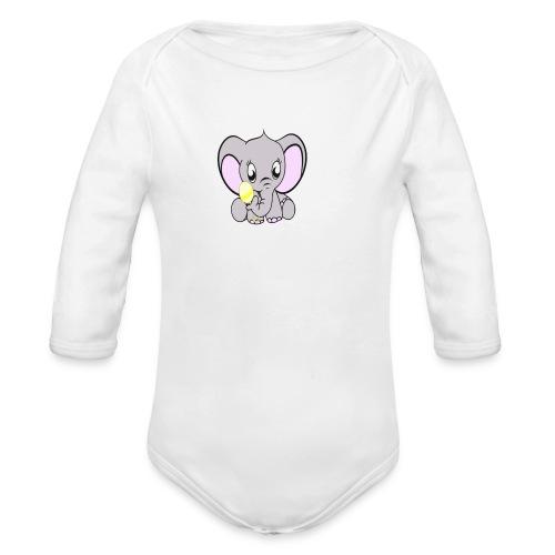 Baby olifantje met rammelaar - Baby bio-rompertje met lange mouwen