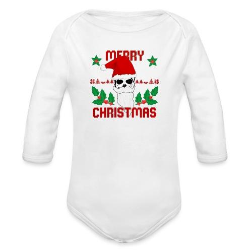 Merry Christmas Skull - Baby Bio-Langarm-Body