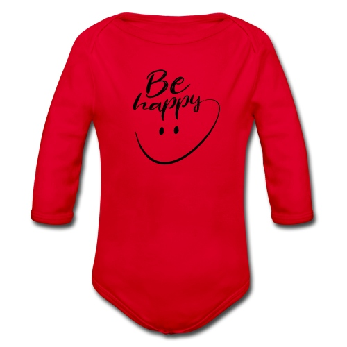 Be Happy With Hand Drawn Smile - Organic Longsleeve Baby Bodysuit