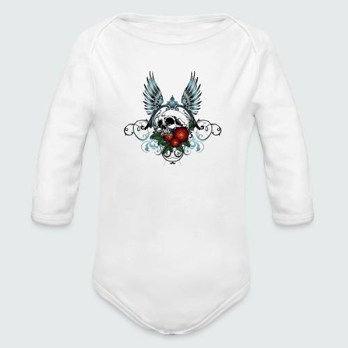 Skull Rose & Wing - Body ecologico per neonato a manica lunga