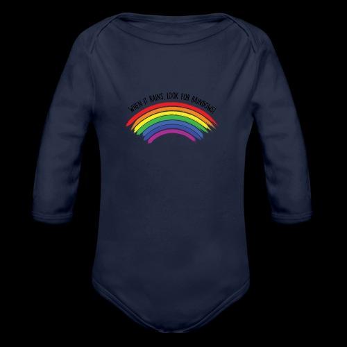 When it rains, look for rainbows! - Colorful Desig - Body ecologico per neonato a manica lunga