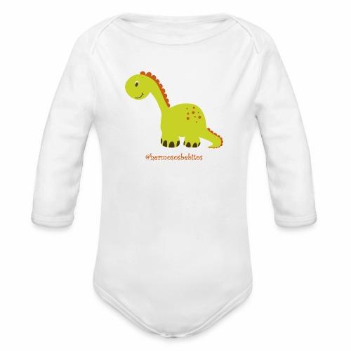 hermosos bebitos dinosaurio - Body orgánico de manga larga para bebé