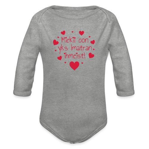 Miekii oon yks Imatran Ihmeist lasten ph paita - Vauvan pitkähihainen luomu-body