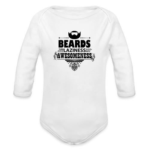 beards_laziness_awesomeness 10x - Vauvan pitkähihainen luomu-body