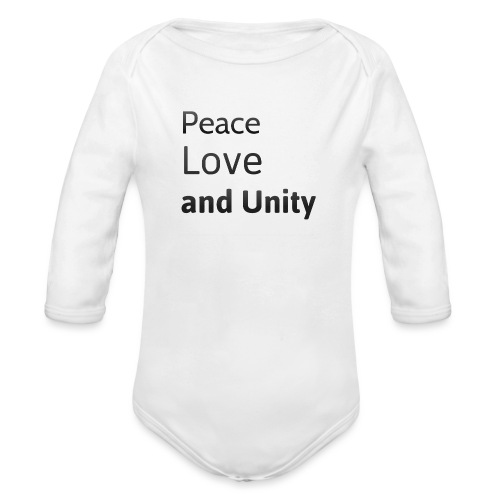 peace love and unity - Organic Longsleeve Baby Bodysuit