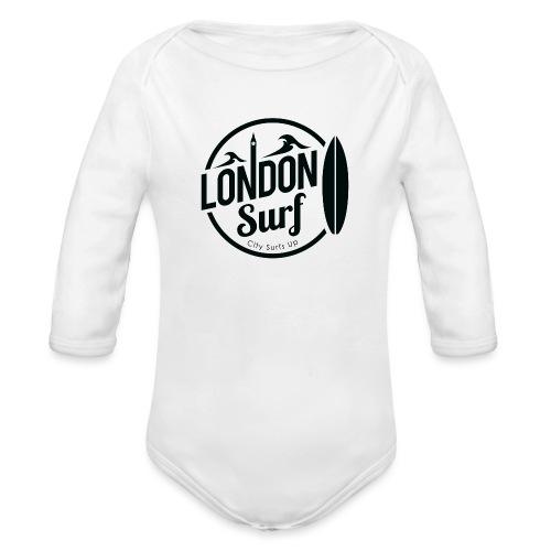 London Surf - Black - Organic Longsleeve Baby Bodysuit