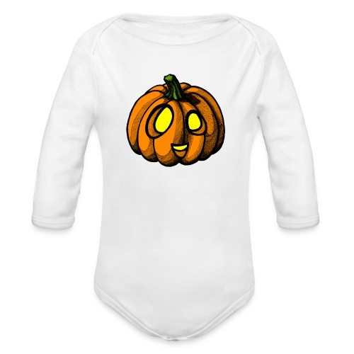 Pumpkin Halloween scribblesirii - Baby Bio-Langarm-Body