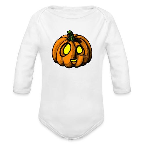 Pumpkin Halloween scribblesirii - Vauvan pitkähihainen luomu-body